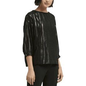 DKNY Top Blouse Black Liquid Metallic Print Sz L